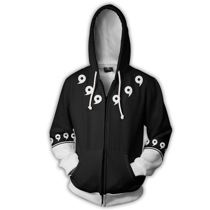2018 new fashion Cool sweatshirt Hoodies Men women 3D print Nine generations Naruto cool ZIP UP hot Style Streetwear Long sleeve