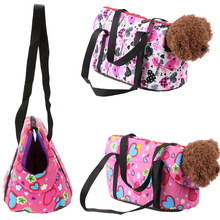 Autumn Winter Warm Pet Carriers For Small Dogs Floral Shoulder Pet Bag Dog Cats Outdoor Portable Bed