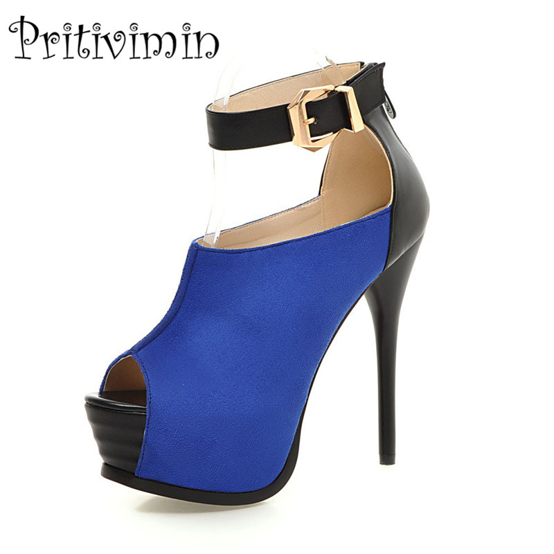 Plus size fashion  red blue prom shoes ladies peep toe platform super sexy high heels women comfortable bottom party pumps B-18 dark blue belted peep toe fashion booties