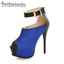 купить Plus size fashion blue red bottom prom shoes ladies peep toe platform super sexy high heels women comfortable party pumps B-18 по цене 5024.87 рублей
