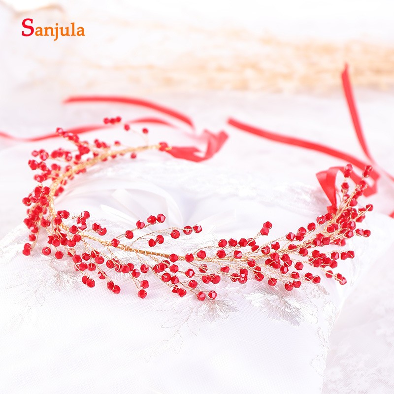 2019 Red Crystals Bridal Head Sash Gold Metal Wedding Chain Marriage Hair Headband Bride Accessory T105