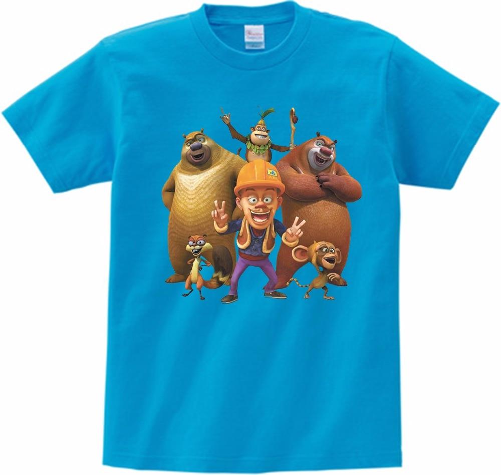 Crianças Camisetas Popular Chinês das Crianças Camisetas de Impressão Bonito do Urso de Urso Animado Show Grande Menino Menina Verão Mangas Curtas