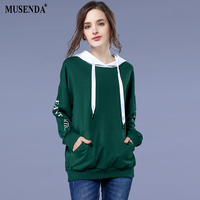 MUSENDA Plus Size Women Dark Green Letter Hooded Pockets Sweatshirts 2018 Spring Female Casual Street Hoodies