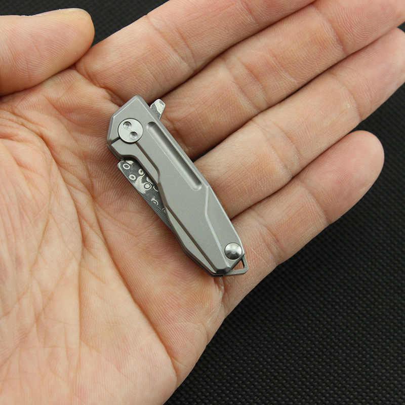 58-60HRC высокое качество EDC ключ подвесной нож дамасское лезвие титановая ручка из сплава Мини карманный складной нож кемпинг универсальный инструмент