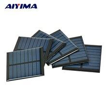 AIYIMA 10Pcs Solar Panel Cells Epoxy Painel Solar China 4V 60mA 55 55MM Photovoltaic Panel DIY