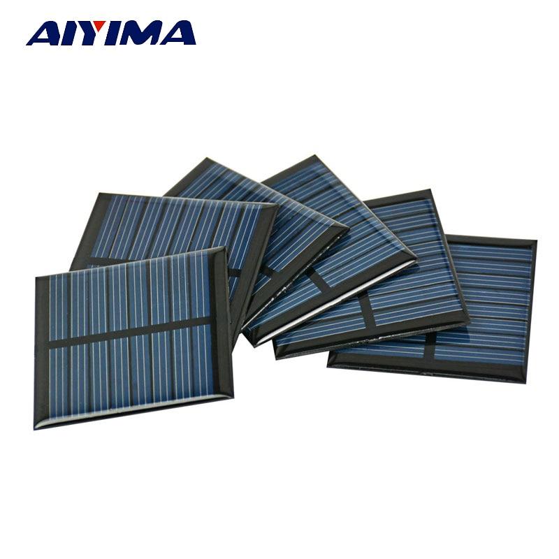 AIYIMA 10Pcs Solar Panel Cells Epoxy Painel Solar China 4V 60mA 55*55MM Photovoltaic Panel DIY Power Bank Sunpower Energy