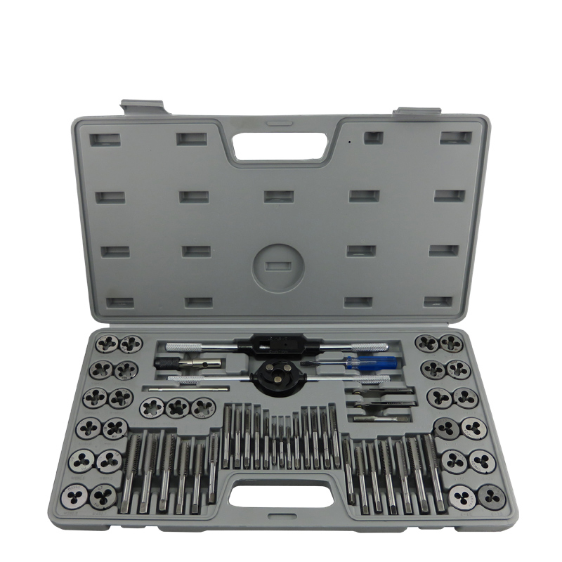 60pcs Inch Taps Die Set Screw Tap Holder Thread Gauge Wrench Set Threading Tool 20pcs m3 m12 screw thread metric plugs taps tap wrench die wrench set