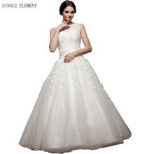 SINGLE ELEMENT Romantic Real Photo Plus Size Beaded Lace Bridal Dress Appliques Wedding Gowns