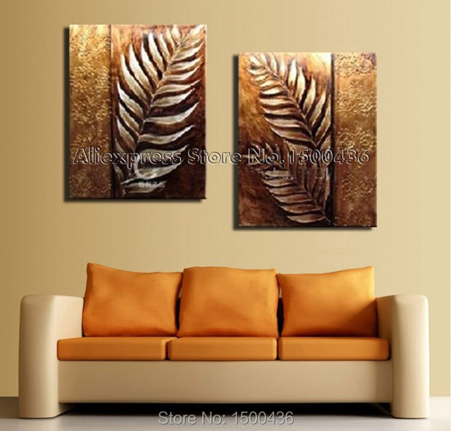 Hand Painted Abstract Still Life Paintings Leaf Canvas Art 2 Piece ...