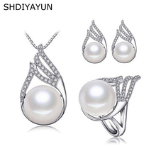 SHDIYAYUN Fine Pearl Jewelry Set 925 Sterling Silver Jewelry For Women Natural Freshwater Pearl Set Zircon Ring Necklace Earring unique punk design pearl green zircon beads jewelry set 925 sterling silver pendant earrings ring bracelet fine charm jewelry