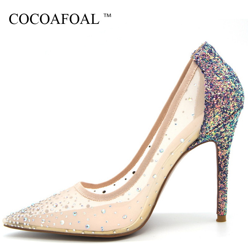 COCOAFOAL Woman Transparent Rhinestone Sandals Plus Size Sexy Glitter High Heels Prom Shoes Stiletto Clear Silvery Wedding Pumps cocoafoal woman green high heels shoes plus size 33 43 sexy stiletto red wedding shoes genuine leather pointed toe pumps 2018