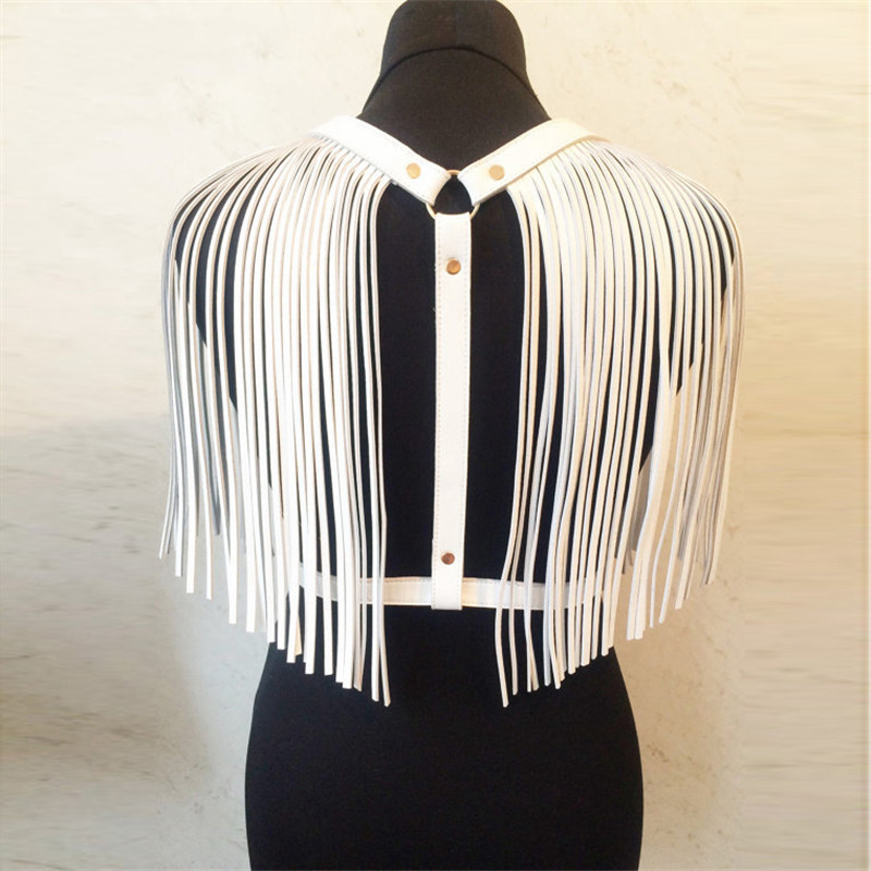 White Black Leather Long Tassel Fringes Top Goth Punk Rock Metal Rivets O Ring <font><b>Sexy</b></font> Tank Top Fashion <font><b>Festival</b></font> Party Clubwear image