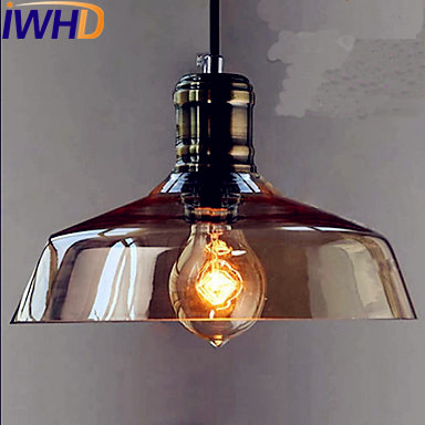 IWHD Glass Style Loft Industrial Pendant Lighting Fixtures Living Room LED Edison Retro Vintage Lamp Hanging Light Lamparas iwhd american retro vintage pendant lights fixtures edison loft industrial pendant lighting hanglamp lampen wrount iron