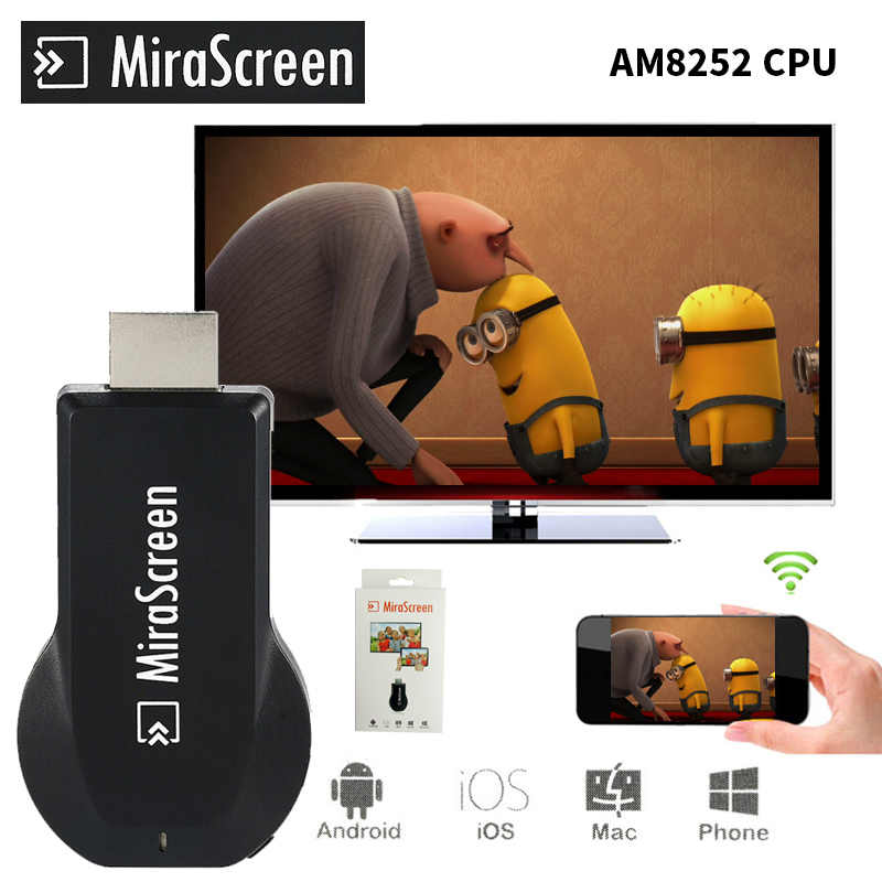 Mirascreen 2.4G Dongle HDMI TV stick Mirroring dla MAC i iOS DLNA Miracast Airplay Chromecast z systemem Android Apple TV Anycast Youtube