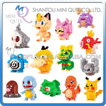 Full Set 14pcs Mini Qute LNO Kawaii Anime game cartoon gift pikachu Squirtle Charmander plastic building block educational toy