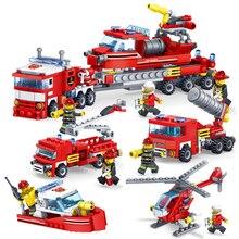 348 шт. пожарные грузовики автомобиль-Вертолет Лодка строительные блоки Совместимость с legoingly город кирпичи Playmobil игрушки для детей мальчиков