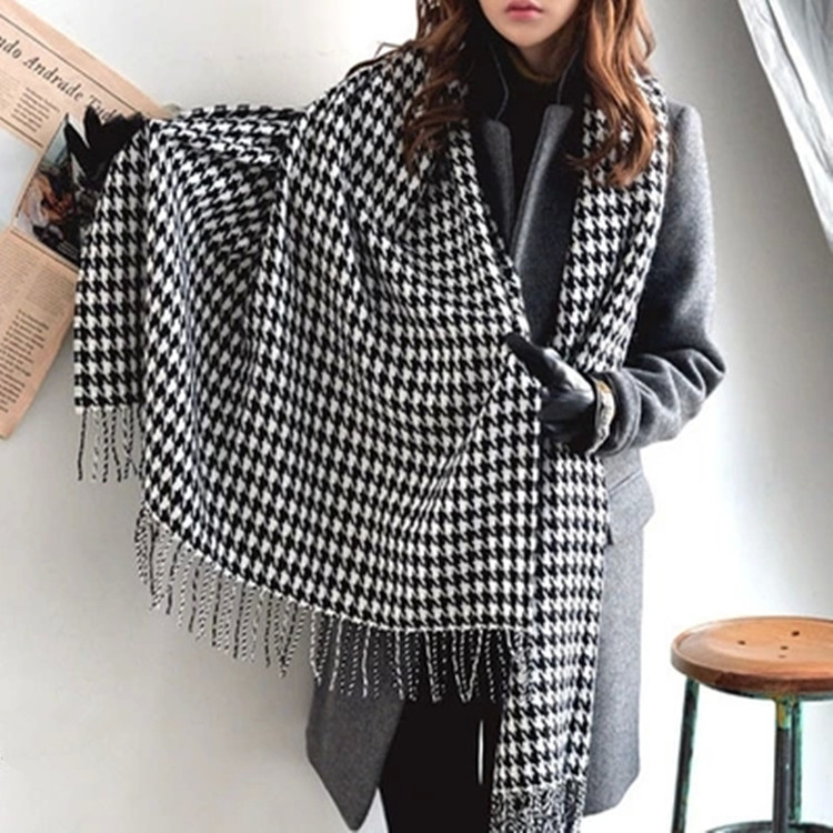 2019 New Fashion Winter Houndstooth Long Fringed Shawl Scarf For Women/Girl Free Shipping