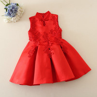 Red Chinese Style Baby Girl Cheongsam Dress Qipao Girls Dresses for Party Kids Birthday Clothing New Year Child Clothes YL203