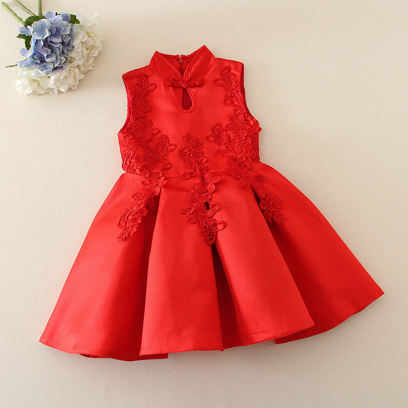 Red Chinese Style Baby Girl Cheongsam Dress Qipao Girls Dresses for Party Kids Brithday Clothing New Year Child Clothes YL203