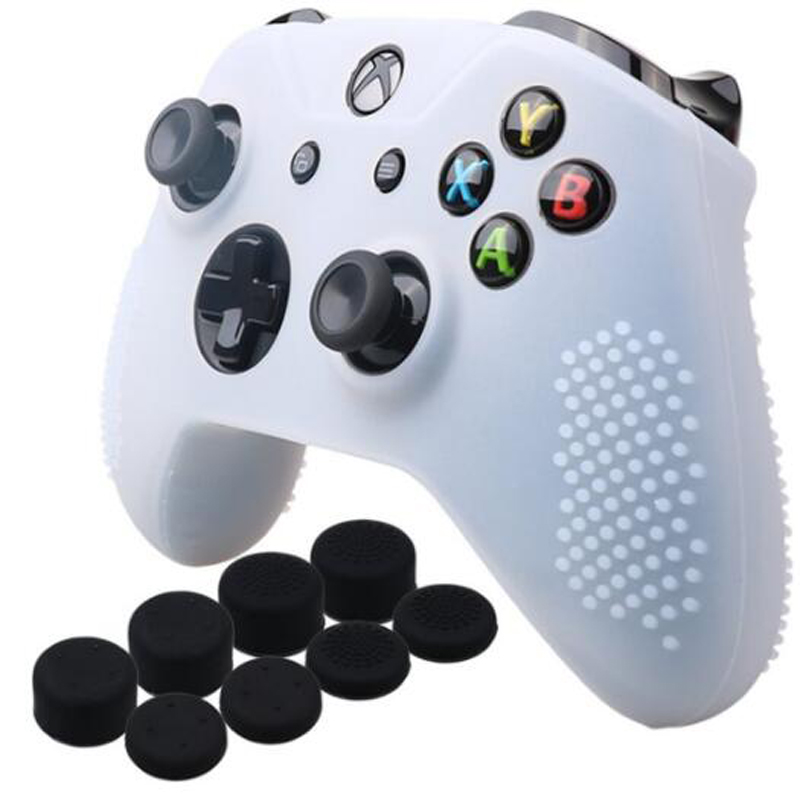 For Xbox One Slim Controller Anti-slip Silicone Skin Case + Joystick Grip Cap For Xbox One S Gamepad