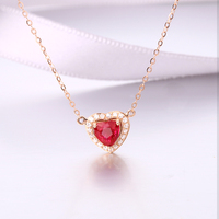 Robira Heart Necklace Women Jewelry 18K Rose Gold Chain Necklace Natural Ruby Red Dainty Tiny Heart Shaped Necklaces Pendants