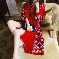 floor length bohemian linen puff sleeve lantern sleeve embroidery red lacing national trend fluid one piece dress
