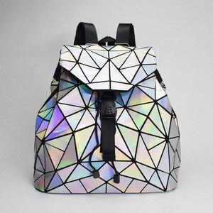 Image 2 - 패션 여성 drawstring 배낭 기하학 여성 배낭 십 대 소녀 bagpack 홀로그램 숙 녀 바오 학교 가방 sac