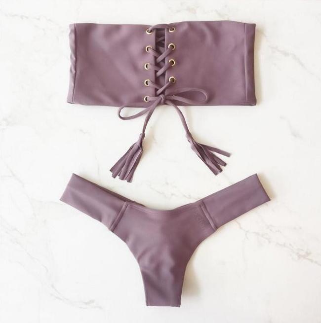 2019 Brazilian Bikini Swimwear Women Push Up Bikini Set Female Swimsuit Lace Up Strapless Bather Bathing Suit Biquini in Bikinis Set from Sports Entertainment