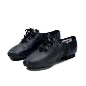 Image 5 - Sansha Unisex Lace up Jazz Shoes Leather With Neoprene Suede Split sole Cushioned Heel Women Men Jazz Salsa Dance Shoes JS2LPI