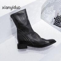2018 Autumn Genuine Leather Cow Women's Shoes zipper low Heel plus size 34 43 Ankle Boots Round ToeWinter Winter Short Plush/518
