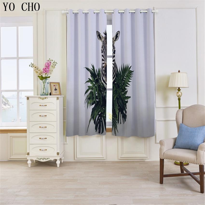 YO CHO Nuovo Prodotto 3d tende blackout Zebra Animale rideaux cervo ragazzi tende per bambini che vivono room135 * 245 cm 2 PZ gordijnen - 2