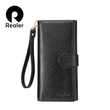 REALER wallets women genuine leather purse female clutch strap bifold credit card holders RFID blocking zipper folding money bag(China)