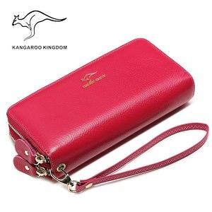 Image 4 - KANGAROO KINGDOM luxury genuine leather women wallets long double zipper lady clutch purse brand hand bag for