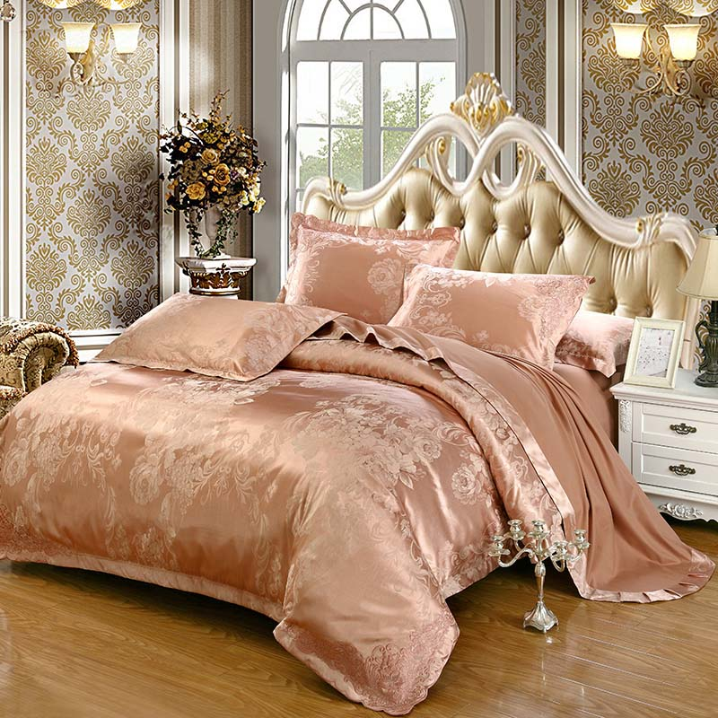 2016 Luxury cotton Embroidery Tencel Satin Silk luxury jacquard bedding set  pink gold purple duvet cover. Popular Pink and Gold Comforter Sets Buy Cheap Pink and Gold