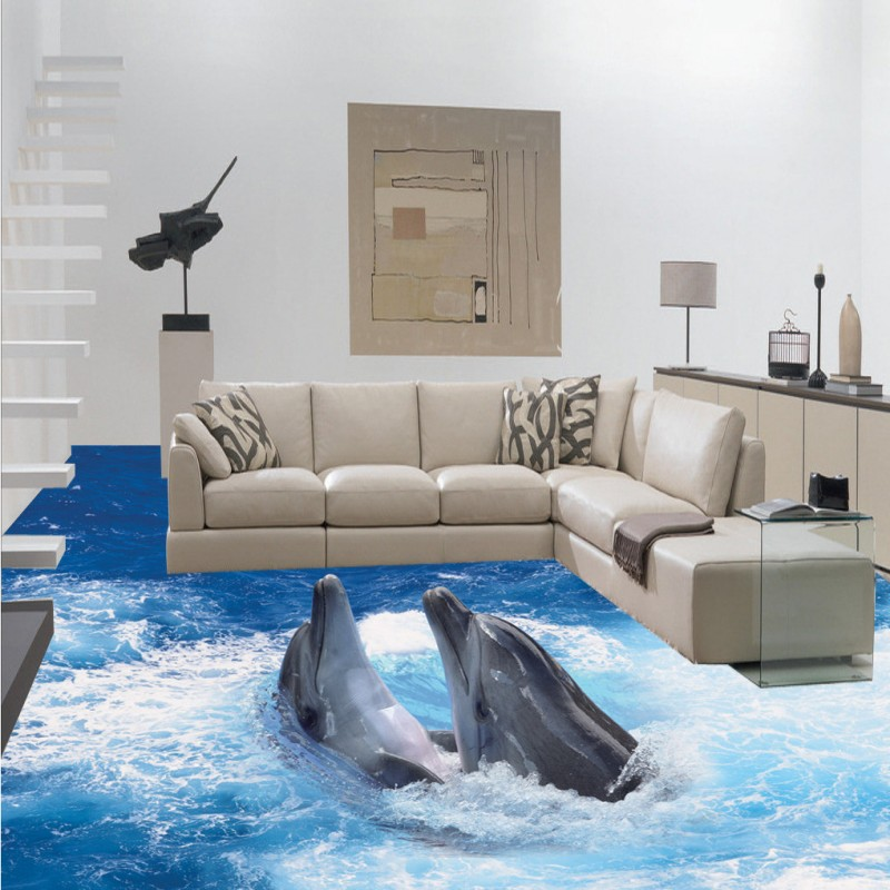 Free shipping custom flooring moisture proof non-slip living room wallpaper 3D Stereo Sea World Dolphin Floor Painting mural free shipping sea world dolphin 3d floor thickened wear non slip bedroom living room kitchen flooring wallpaper mural