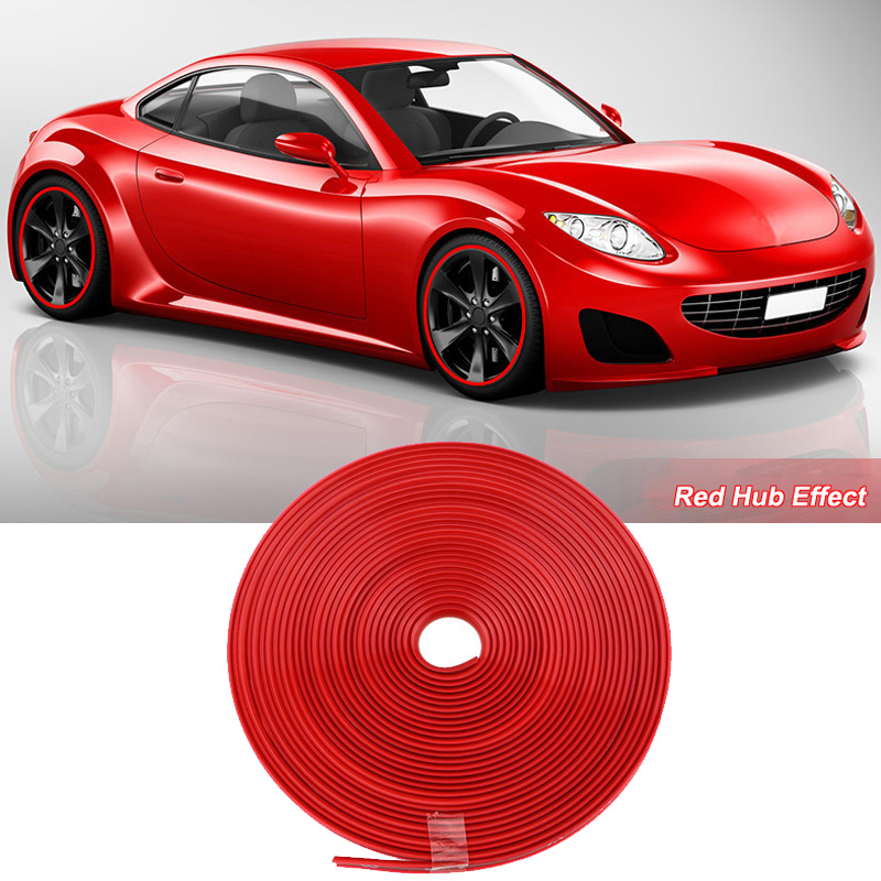 smRKE 8M Car Wheel Hub Rim Edge Protector Ring Tire Strip Guard Rubber Stickers On Cars Red Styling