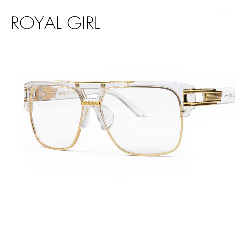 ROYAL GIRL Luxury Women Märke Glasögon Ram Vintage Oversize Clear Lins Glasögon Män Glasögon Ramar Acetat Spectacles ss098