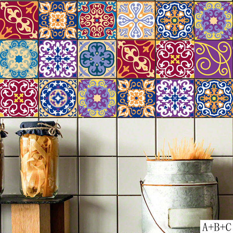 Mediterranean Style Self Adhesive Tile Art DIY Waterproof Anti oil ...