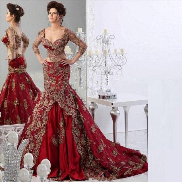 Dubai Arabisch Kaftan Rote Lange Meerjungfrau Abendkleider 2016 ...
