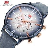 MINIFOCUS Fashion Men Watches Leather Strap Men's Wristwatch Quartz Wrist Watch Mens Waterproof Luxury Brand Relogio Masculino