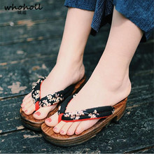 цена на WHOHOLL Geta Summer Sandals Women Anime Cosplay Comiket Coser Japanese Geta Wedge Sandals Wooden Slippers Clogs Shoes Flip-flops