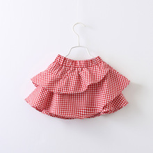 Everweekend Girls Ruffles Skirts Plaid Pink Color Princes Spring Summer Skirts Western Cute Clothing