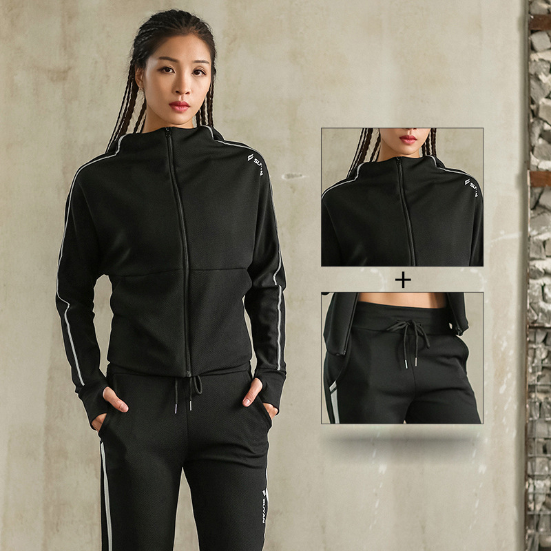 News Sport Jacket Pants Quick Dry Breathable Yoga Suits 2 in 1 Winter Running Suit Female