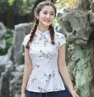 New Style White Women S Summer Cotton Linen Blouse Novelty Button Short Sleeve Shirt Flower Clothing