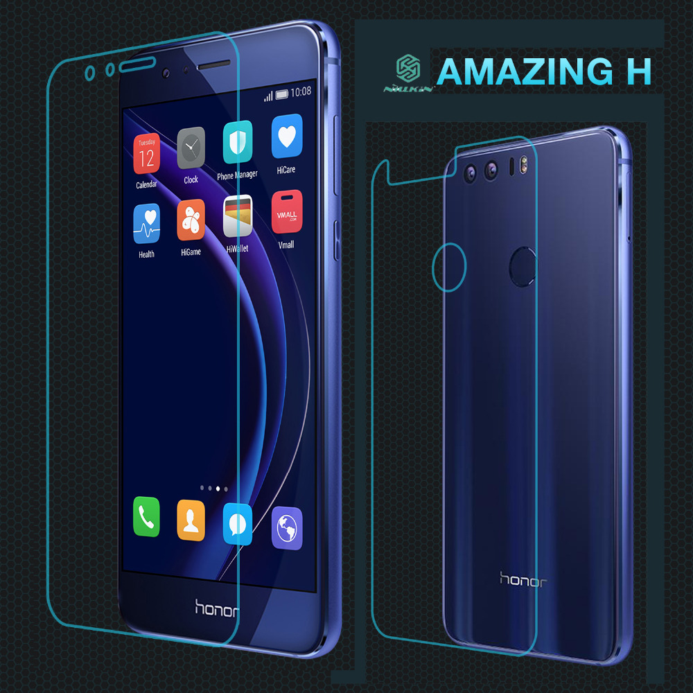 imágenes para Huawei Honor 8 Premium de Cristal Templado HD Ultra Thin Film Honor8 Back & Front Protector de la Pantalla de Nillkin 9 H dureza