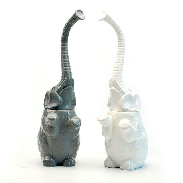 Us 16 24 15 Off Reinigung Pinsel Badezimmer Zubehor Set Gluck Elefanten Keramik Bad Wc Pinsel Set Badezimmer Weiche Borsten Pinsel In Reinigung