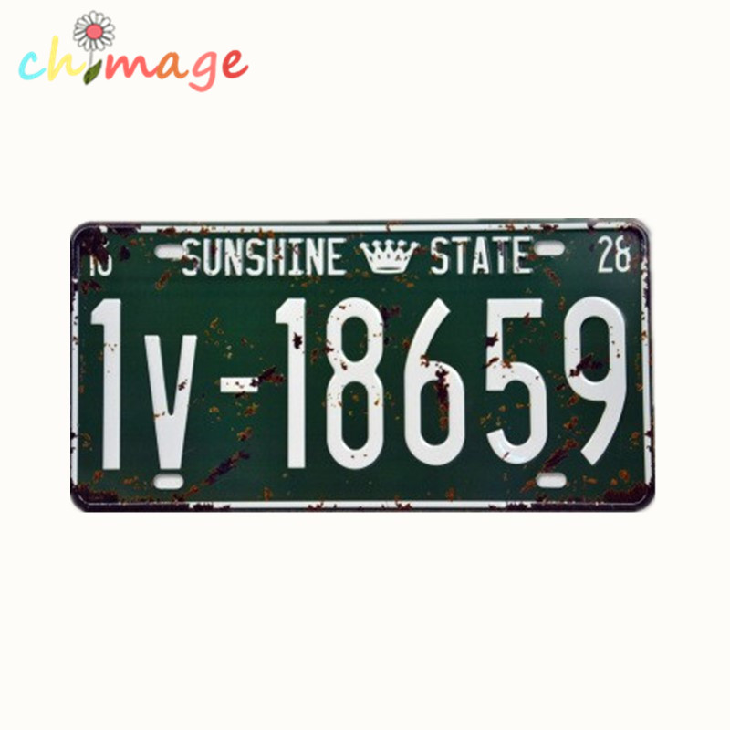 SUNSHINE STATE 18659 NUMBER License CARLATE Vintage Tin Sign Bar pub home Wall Decor Retro Metal Art Poster