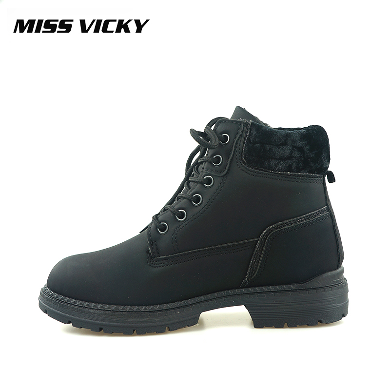 MISS VICKY Winter Genuine Plush Martin Boots New British Style Casual Boots Ankle Boots Casual Female Snow Boots