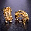 Blucome s forma gótico cinco linhas minúsculo simulado brincos de diamantes para as mulheres cz zircon ródio banhado a ouro des boucles d'oreilles