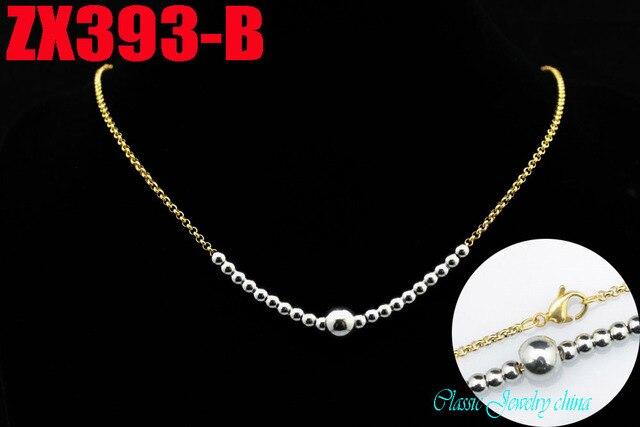 Dodać duże 8mm koraliki złoty kolor 2mm rolo łańcuch z 4mm koraliki naszyjnik ze stali nierdzewnej moda biżuteria 20 sztuk ZX393-B
